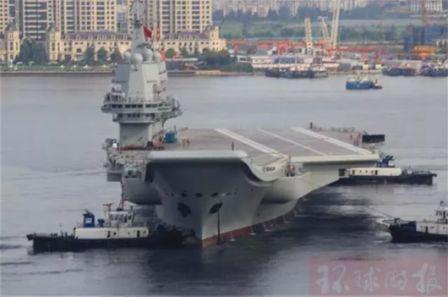 国产航母离开码头开始第二次试航