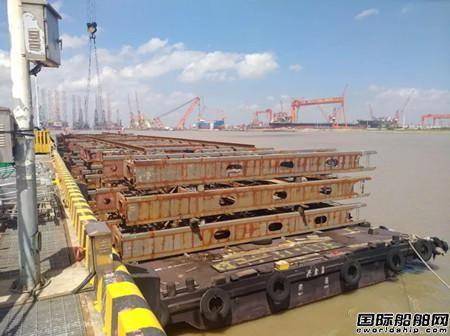 南通中远重工交付首批21000箱集装箱船绑扎桥