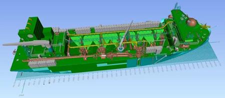 大连中远海运重工推进18000方耙吸式挖泥船设计工作