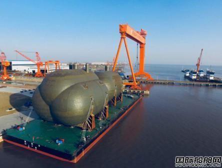 华滋海工开建第二船套85000m3超大半冷半压式船用C型液罐