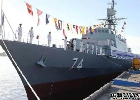 伊朗国内建造隐形驱逐舰在海湾下水