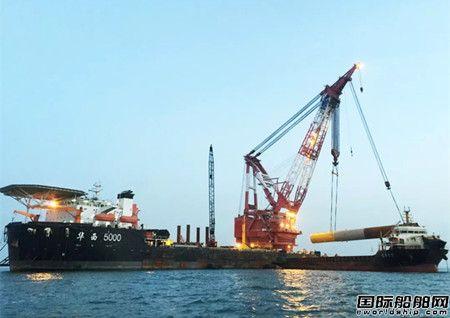 华西海工完成首个海上风电单桩基础施工