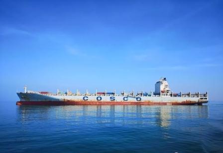 """""""天庆河""""轮首航海南是目前抵达海南最大集装箱船"""