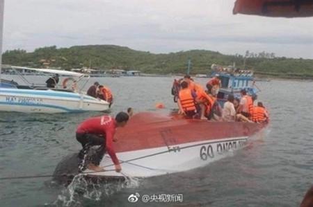 越南翻船事故目击者:当时正下雨船速非常快