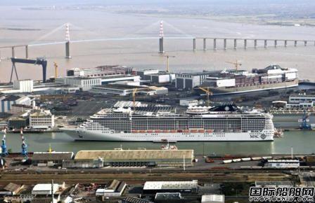法国大西洋船厂建造地中海鸿图号邮轮出坞