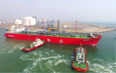 """中海油""""南气北运""""首艘小型LNG船抵津"""