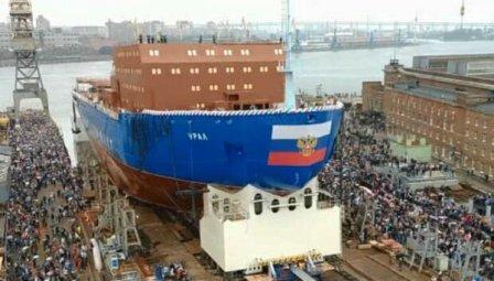 俄罗斯第三艘核动力破冰船下水