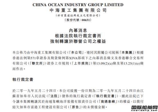 中海重工被判强制转让?#36132;?#35937;屿全部股权