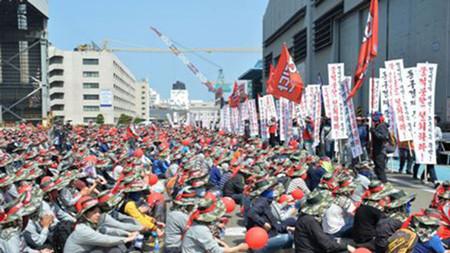 """现代重工工会持续""""局部罢工""""抗议收购大宇造船"""