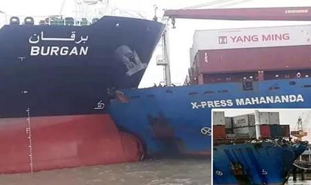 吉大港一艘集装箱船与油轮相撞遭严重损坏