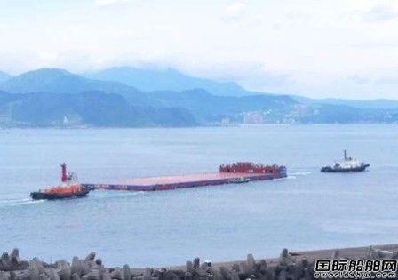 台船建造台湾首艘大型风电驳船进行试车