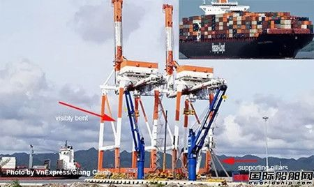 赫伯罗特一艘集装箱船越南港口搁浅后撞上起重机