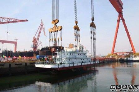 港船重工为天津海事局建造45M趸船顺利下水