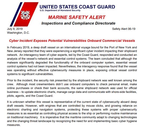 USCG连续警告破坏商船计算机系统恶意软件