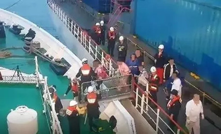 韩国驶往中国渡轮起火200人被转移