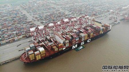 """全球最大集装箱船""""MSC Gulsun""""轮首次靠泊洋山港"""