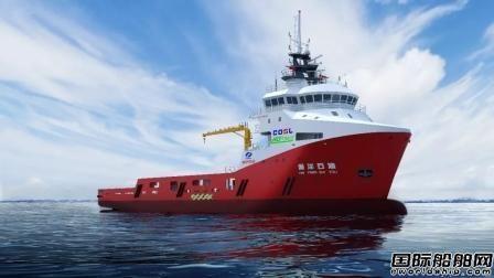 武船4000马力LNG动力守护供应船首制船在开工