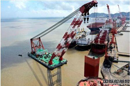 """舟山中远海运重工完成""""新加坡""""轮脱硫塔分段模块吊运定位"""