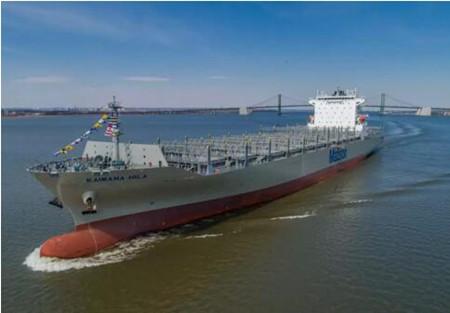 """1艘2亿美元!美森轮船最大集装箱船 """"美森海娜""""轮首航上海"""