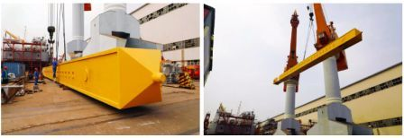 武船造铲斗式挖泥船钢桩定位系统3组巨型钢桩部件船台安装按期完工
