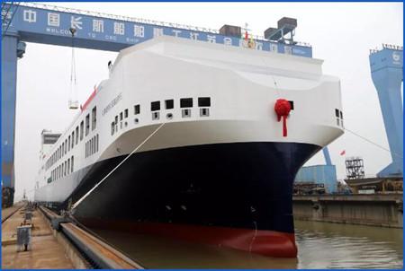 金陵船厂为DFDS建造第五艘15500吨滚装船出坞