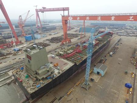 新韩通船舶重工一艘38000吨油化船下水