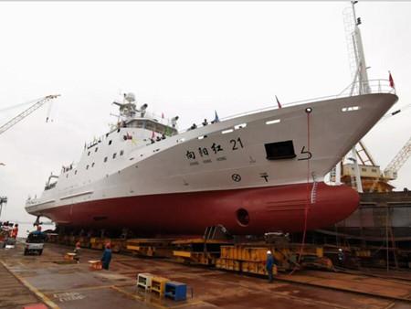 """黄海造船改装""""向阳红21""""轮下水"""