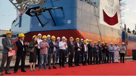 江苏大洋海装600T自升式多功能平台命名下水