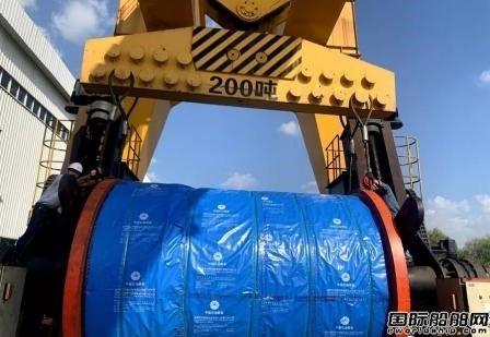 咸阳宝石海洋平台1200吨浮吊主钩变幅钢丝绳下线
