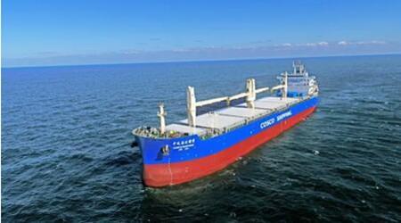 大连中远海运重工62000多用途纸浆船N1002完成试航