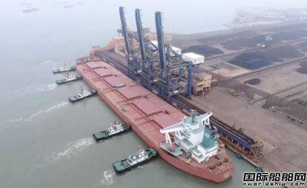再创新纪录!30万吨矿砂船首靠罗屿港口