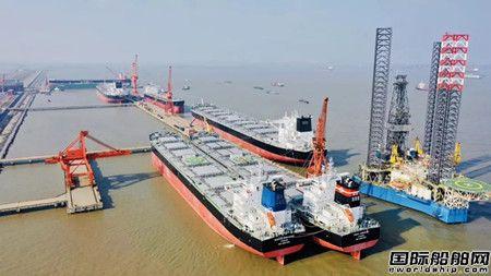 扬子三井造船首制两艘82000吨散货船命名交船