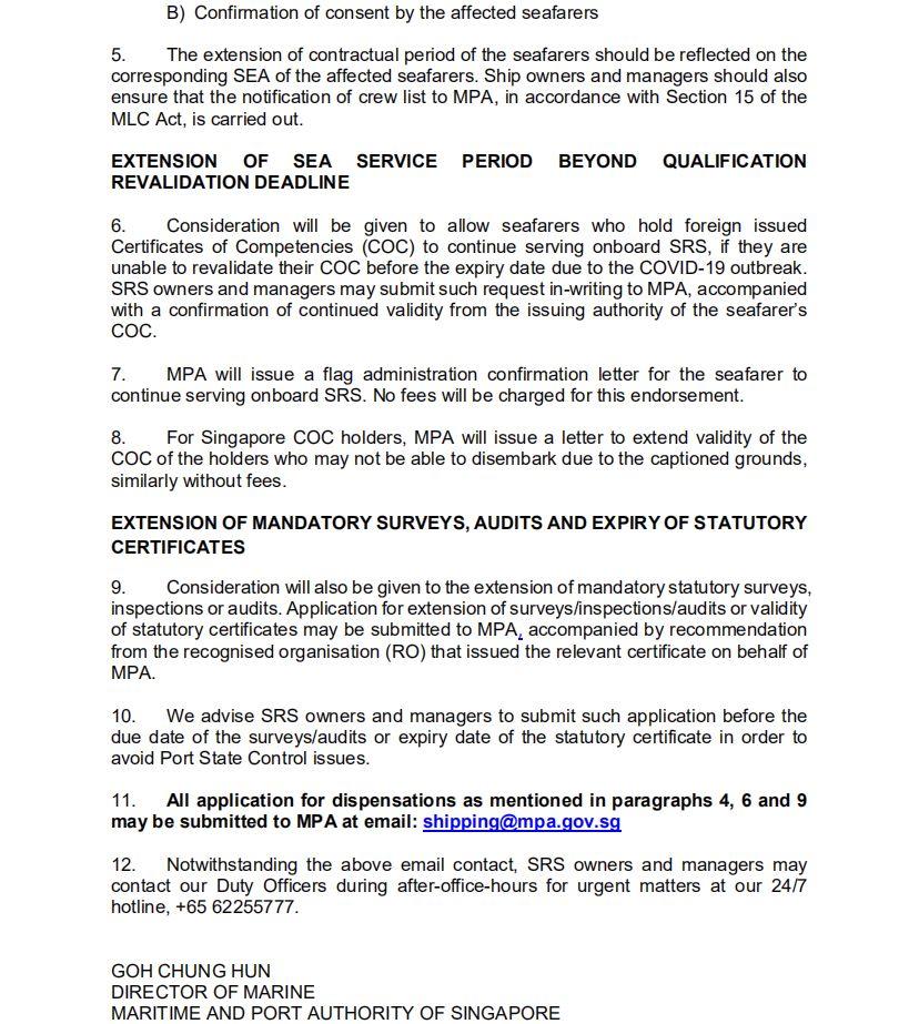 MPA发布新加坡籍船舶受新冠疫情影响相关举措的通函