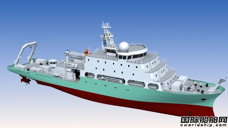 黄埔文冲新型地球物理综合科考船主船体搭载成型