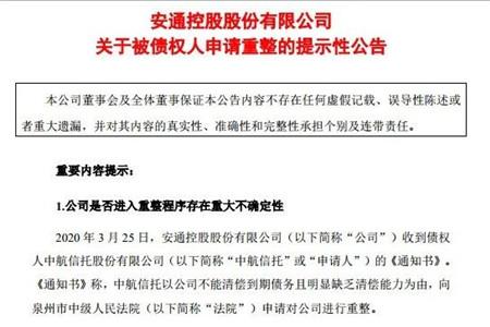 安通控股被债权人申请重整