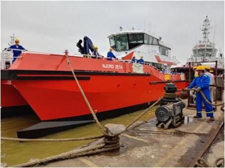显利造船今年第2艘海上风力发电场服务船下水