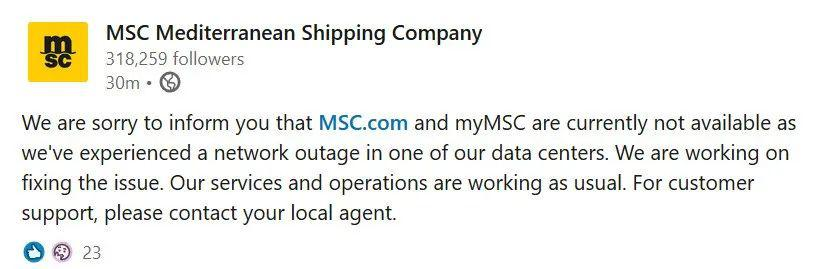 地中海航运疑似遭黑客攻击系统瘫痪