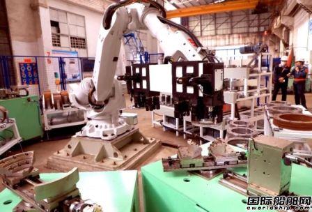 船舶行业首台法兰和套管智能打码工作站投产验收