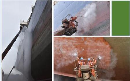 威海金陵首次采用超高压水除锈作业