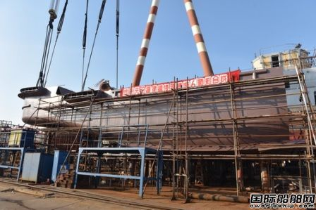 镇江船厂4000HP全回转拖轮顺利合拢