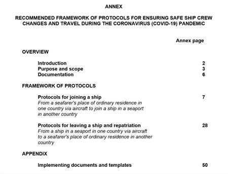 IMO发布疫情期间船员换班和安全旅行的推荐协议框架