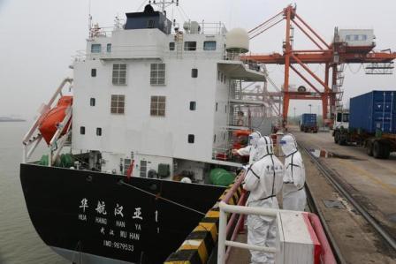 """""""华航汉亚1号"""" 武汉港起航驶向日本"""