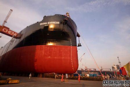 中船澄西扬州公司一艘7万吨木屑船下水