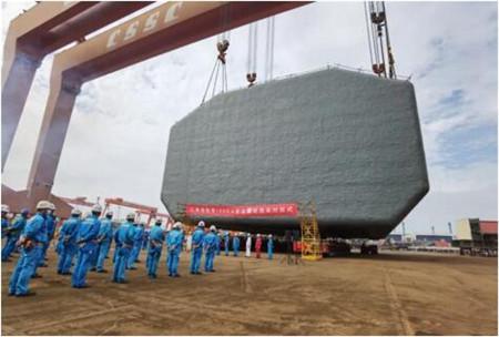 江南造船举行第100个A型舱液罐吊装仪式