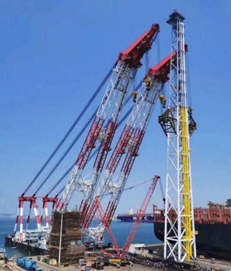 创纪录!大船集团建造世界最大FPSO火炬塔吊装完工