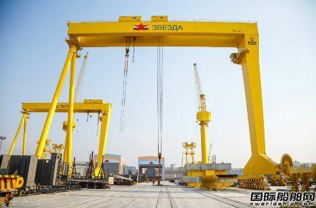 红星造船厂一艘LNG动力阿芙拉型油船铺设龙骨
