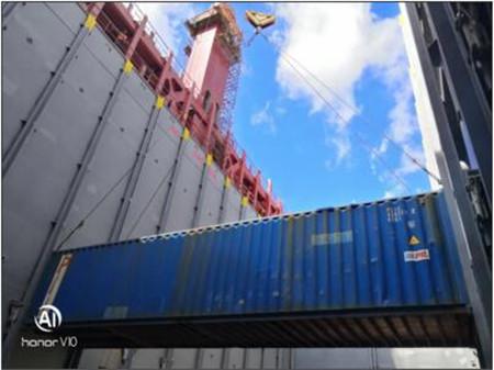黄船海工H5544船坞阶段货舱全部试箱完