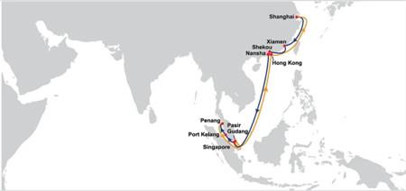 东方海外推出两条中国至马六甲海峡新航线