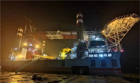 振华重工2500吨坐底式风电安装平台成功完成第一次插桩