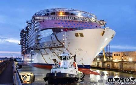"""大西洋造船厂绿洲系列豪华邮轮""""海洋奇迹""""号出坞"""